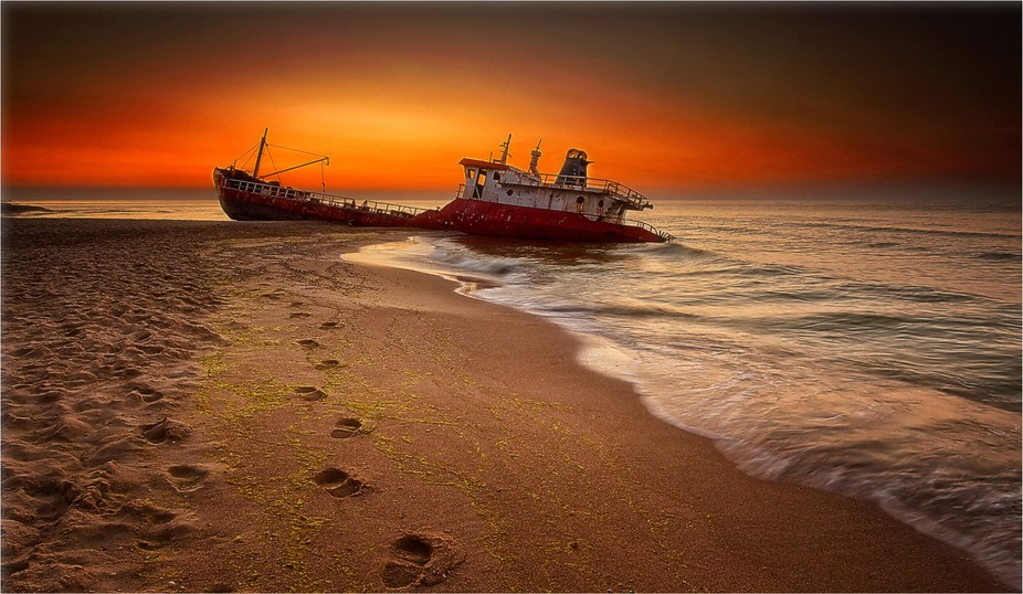 The Turkish boat was shipwrecked during a storm and washed up on the shore of the Black sea.