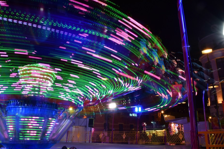 At Easter the ancient Town Square at Bethune, France comes alive with bright lights and music, se...