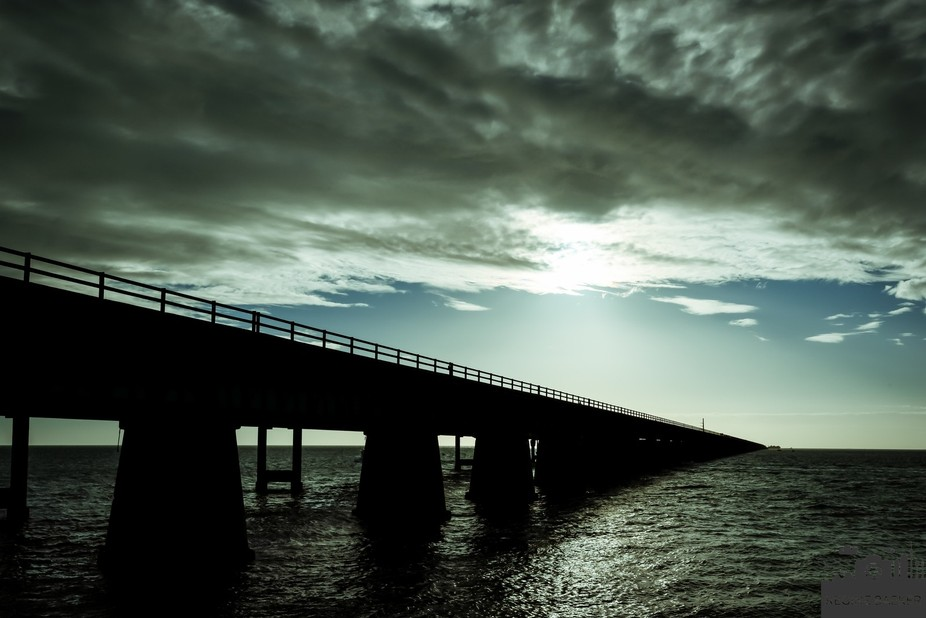 During a tour from Key West I was on the Seven Mile Bridge till sunset-it was great to experiment...