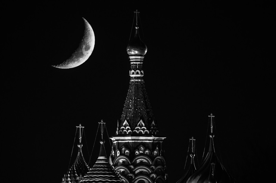 The Moon over St. Basil Cathedral on Red Square in Moscow