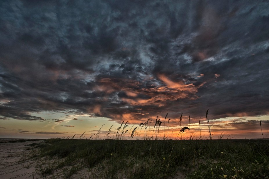 Sunset at Matagorda beach on the Texas Gulf Coast.