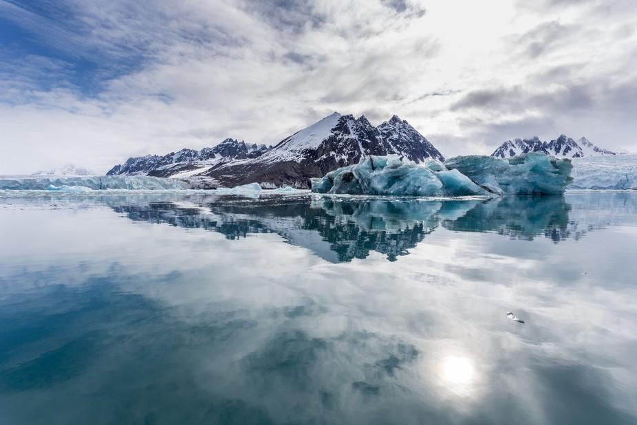 Monacobreen - Glacier in Spitsbergen.  The perfect day for a zodiac excursion.
