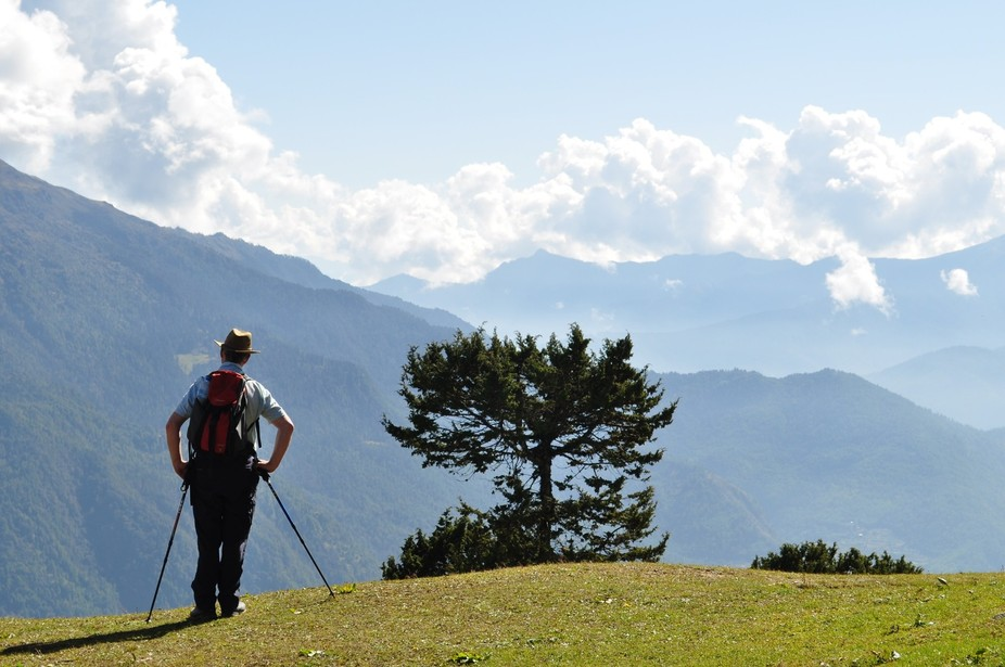 Bhutan trekking, a moment to take in the view.