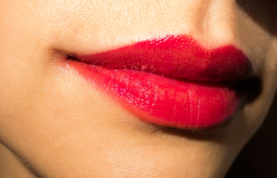 Red lips close view