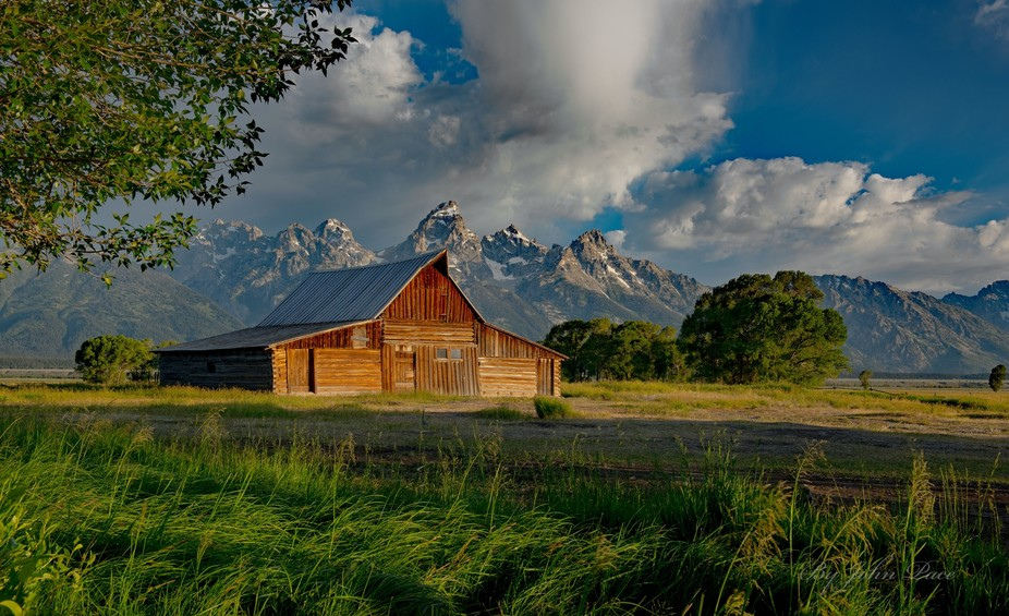 Morning sun lighting up the T.A. Moulton Barn in Grand Teton National Park, Wyoming