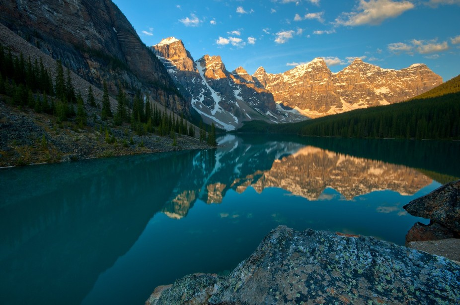 Gorgeous start to the day on Moraine Lake in Alberta, Canada.