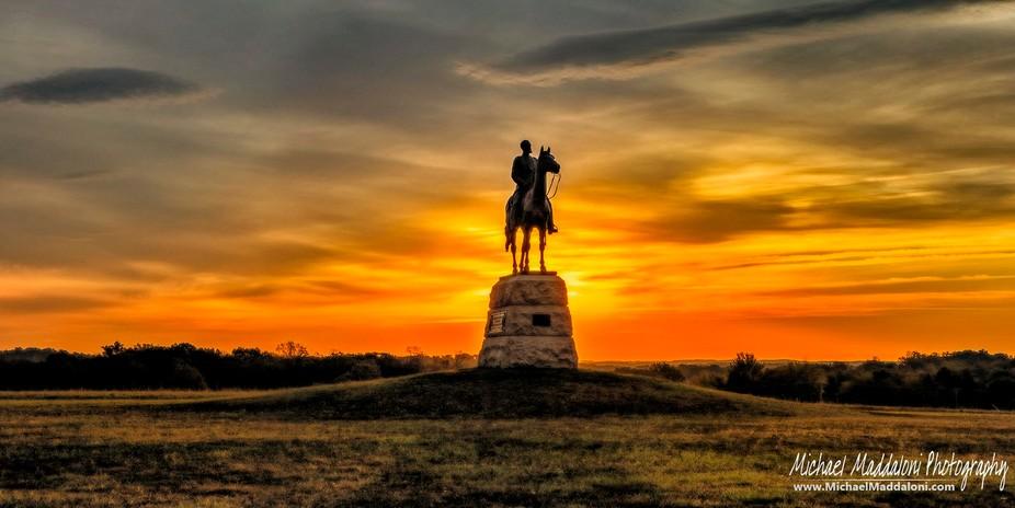 Sun Rising behind General Meade Equestrian Statue at Gettysburg, PA, Civil War Battlefield
