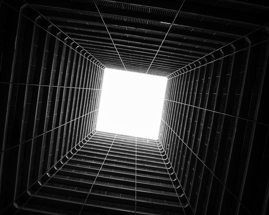 Looking up from an old style public residential estate in Hong Kong