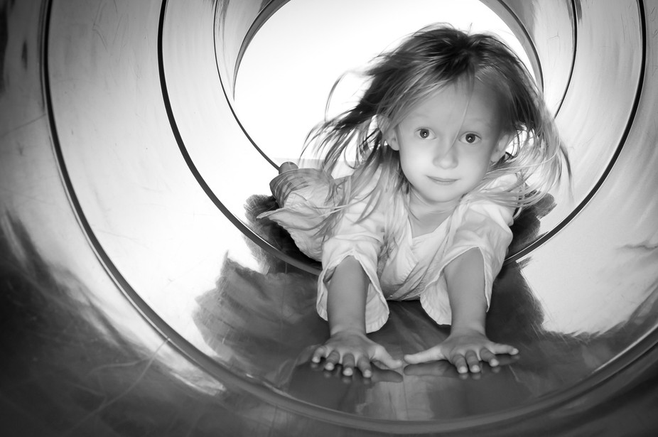 Managed to freeze the moment my happy go lucky cousin was sliding down a slide. In a stroke of lu...