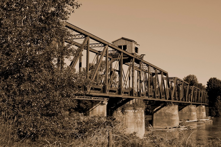 Railroad trestle over Skagit River near Sedro-Woolley, Wa