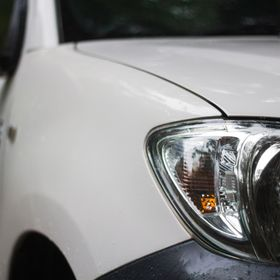 My Toyota Hilux Ute, close up selective focus of headlight.