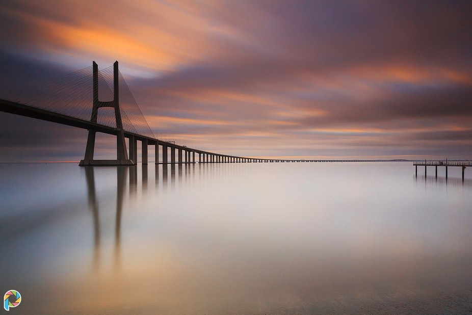 Sunrise at Vasco da Gama Bridge, in Portugal