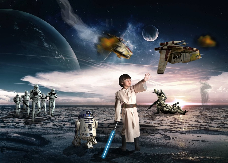 This was a composite I did for my son's 5th birthday party invitation.