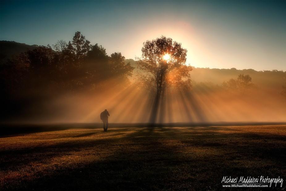 Walking into the Sunrise (Self Portrait)