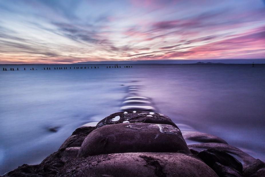 high tide at dusk