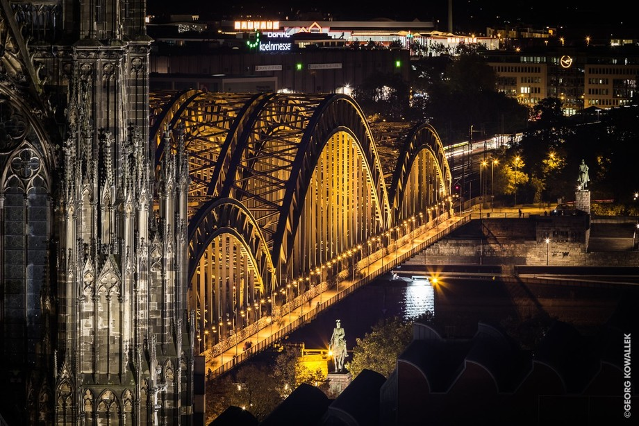 The Hohenzollern Bridge near the great cathedral in Cologne