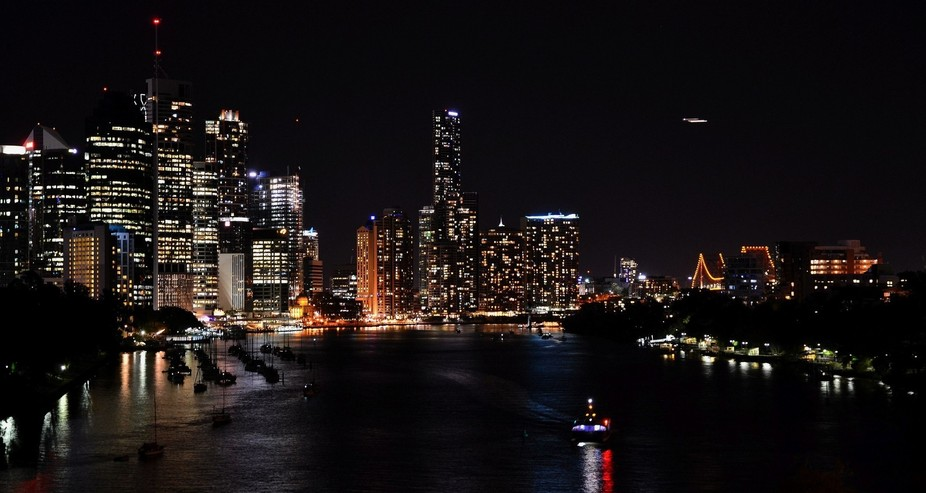 A night time shot of the Brisbane City...