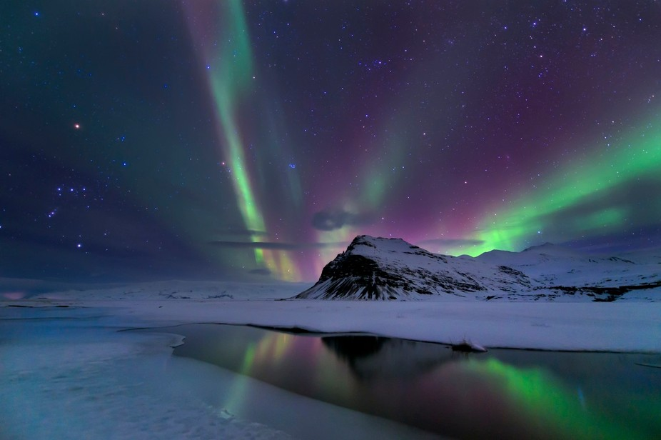 Northern lights in the water