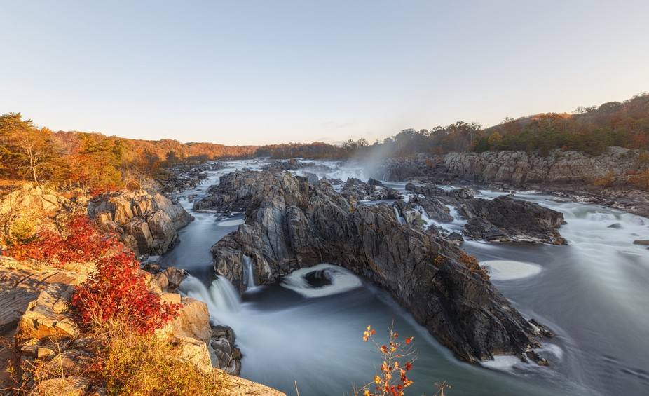 Great Falls seen from the Virginia side of the Potomac River.