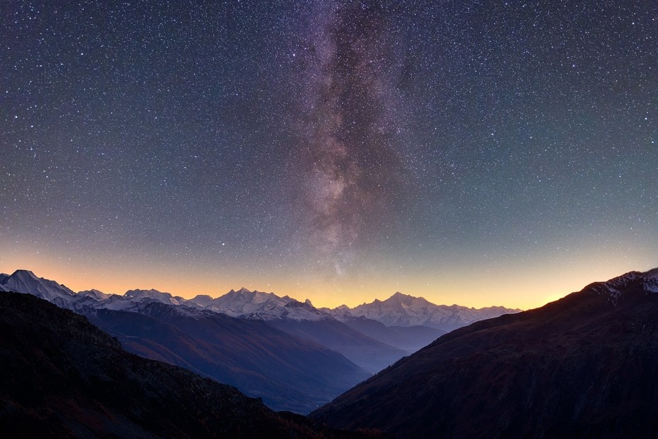 This Milky Way shot was taken from at Furka Pass, close to Rhône Glacier in Switzerland.  Photo ...