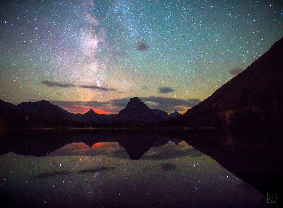 Taken in East Glacier National Park in August of 2015, this image captures the glow of the St. Ma...