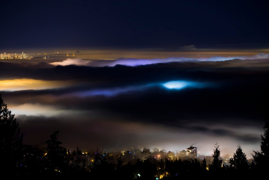 A sea of fog was covering Vancouver and surrounding areas. I took this shot from the Cypress Bowl...