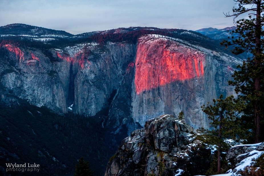 A beautiful sunset light on the face of El Capitan.   I was finally able to get this shot on the ...