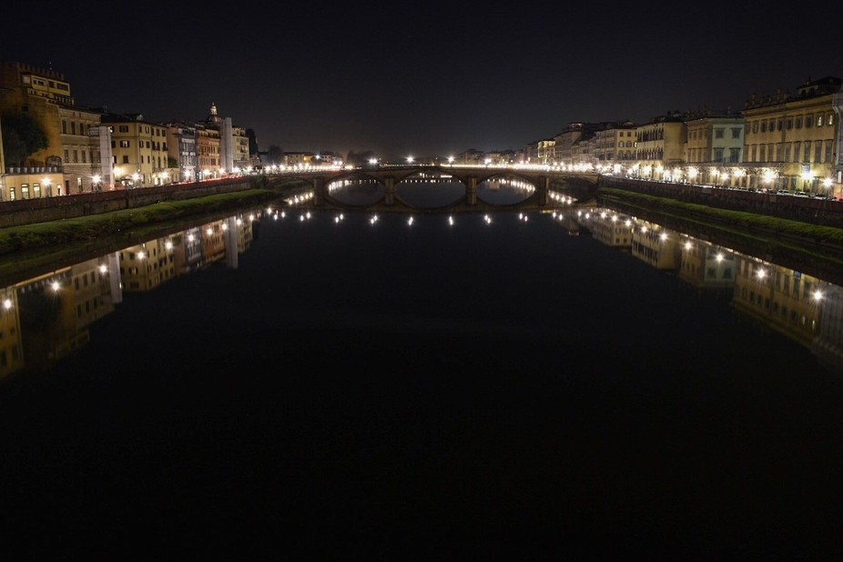 Florance River Reflection By Night