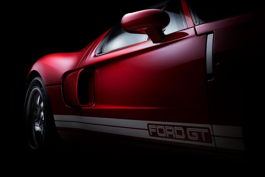 I shoot this detail image of the Ford GT in the museum of a private collector using a speed light...