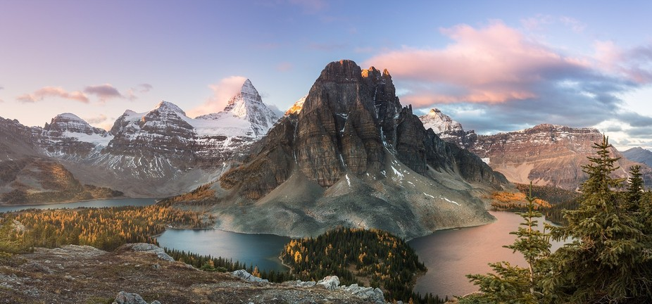 A beautiful October morning in the heart of Canadian Rockies - Mount Assiniboine Provincial park....