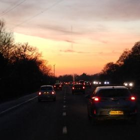 Driving back to station in the ambulance with a beautiful sunset to drive towards