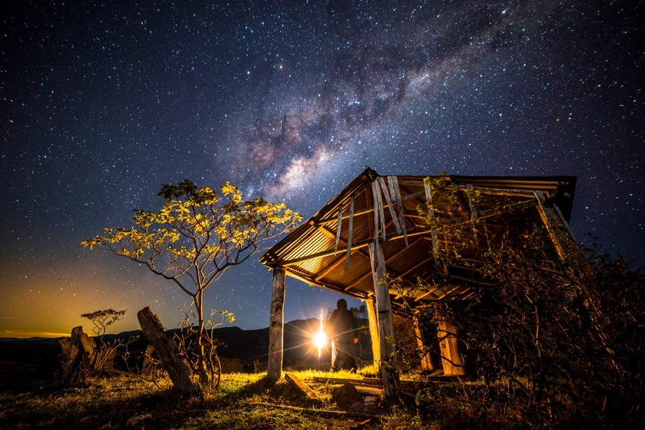 The Milkyway rising over an old shed on the mountains of South East Queensland's scenic ...