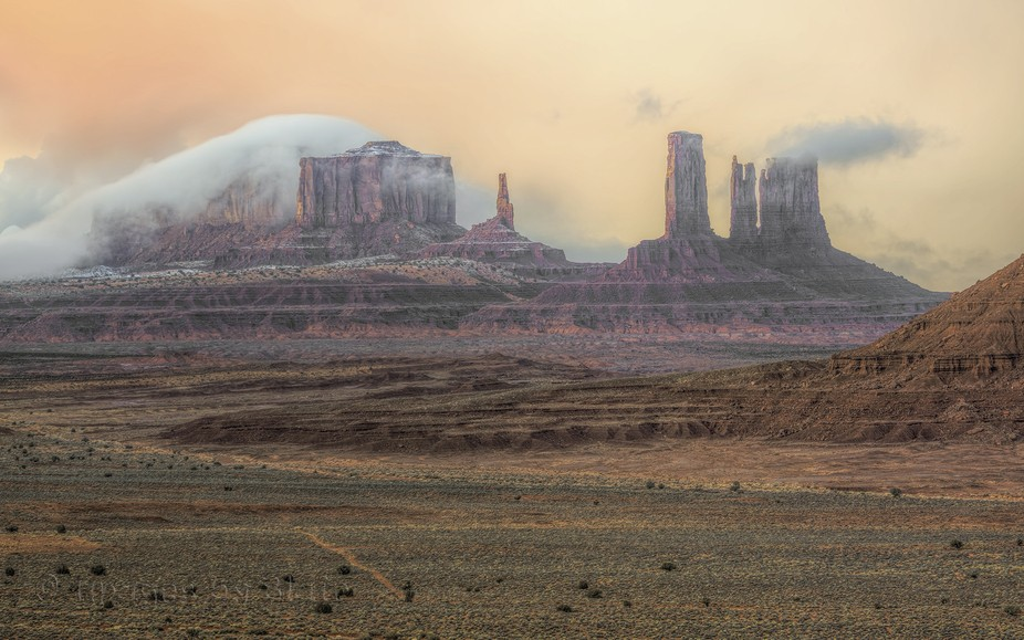 I spent several days in Monument Valley. This was the first view i got of the monuments after day...