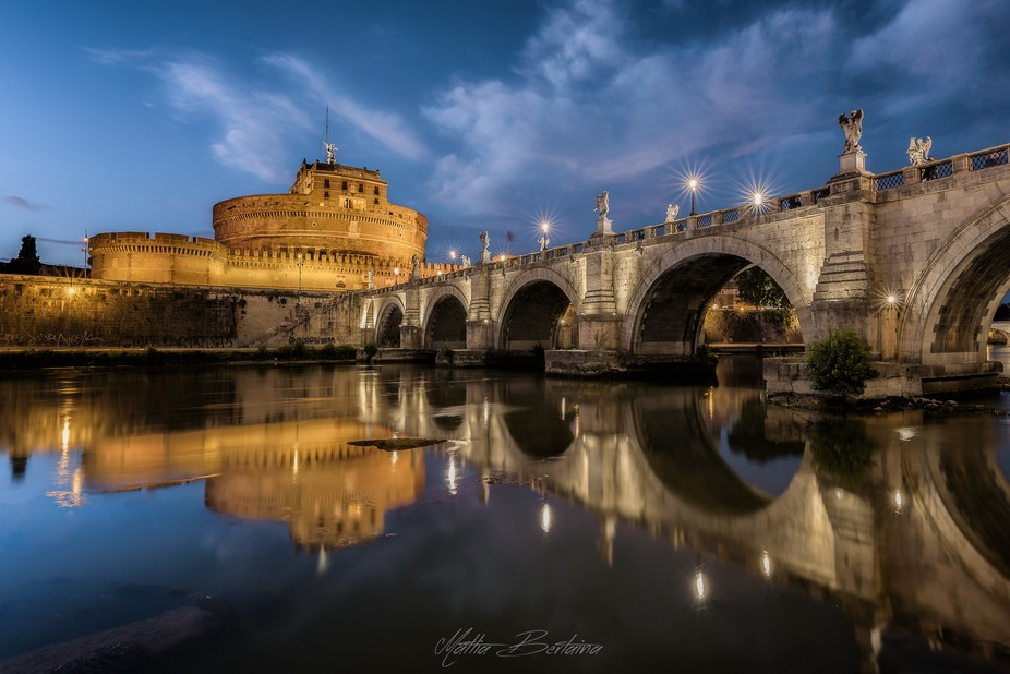 The beautiful Sant'Angelo castle and the relative bridge at twilight. This is a blend of...