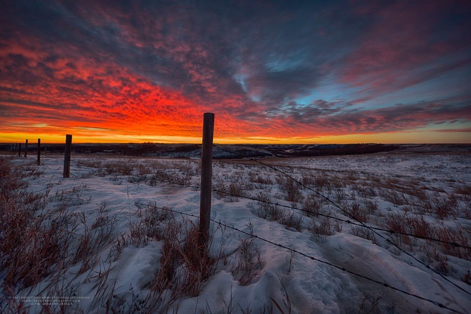 The spectacular display in the sky over the Wascana Valley Trails in Saskatchewan, Canada at dawn...
