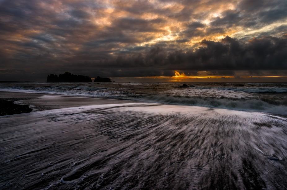 January golden hour at Rialto Beach on the Washington State Coast. Just north of La Push, Washing...