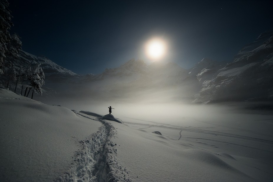 Swiss alpine mountainscape at moonlight...