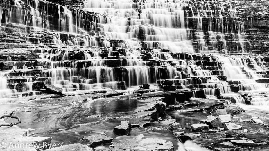 A B&W of Albion Falls near Hamilton, Ontario.  I really like how the silky water and rock...