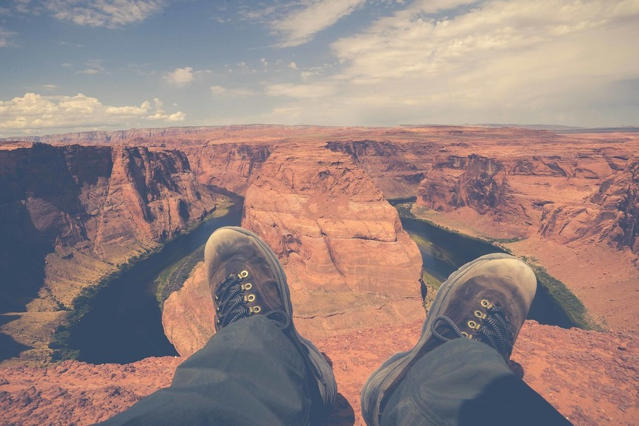 Another selfie in the Horseshoe bend, Arizona. A beatiful landscape to practice with your camera ...