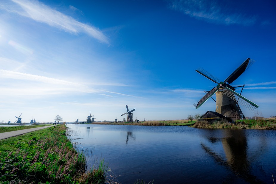 A classical picture of sometimes sunny the Netherlands. The morning gives the windmills a nice ge...