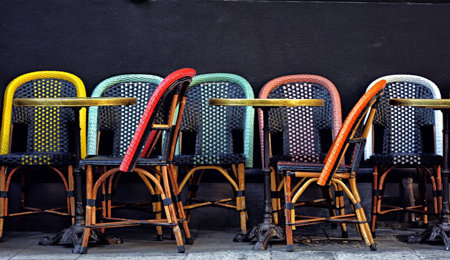 Cafe chairs in Paris, before opening time.