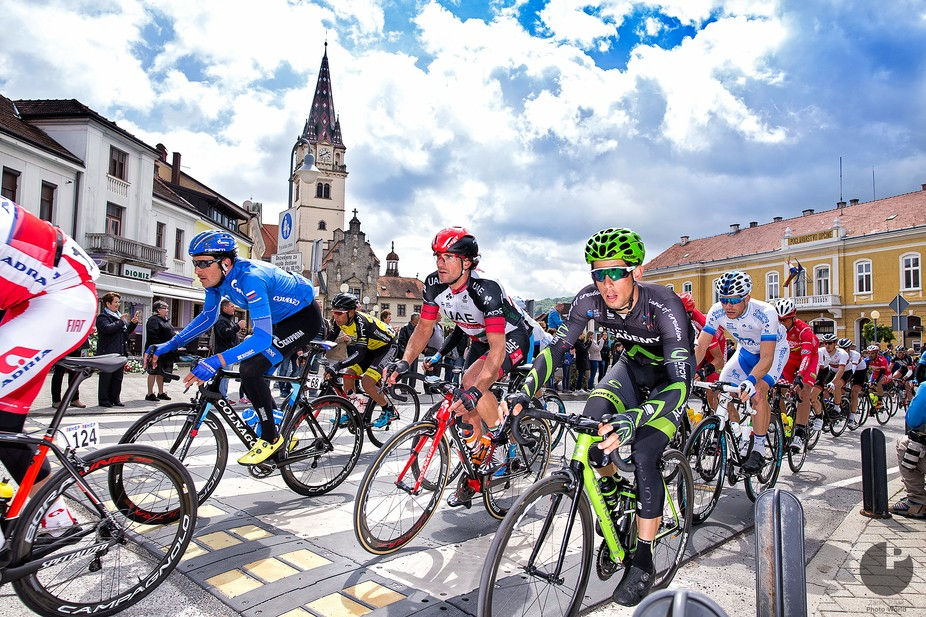 Tour of Croatia 2017. (Stage 6) Cyclists passes trough the main square of Pope John Paul II in Ma...