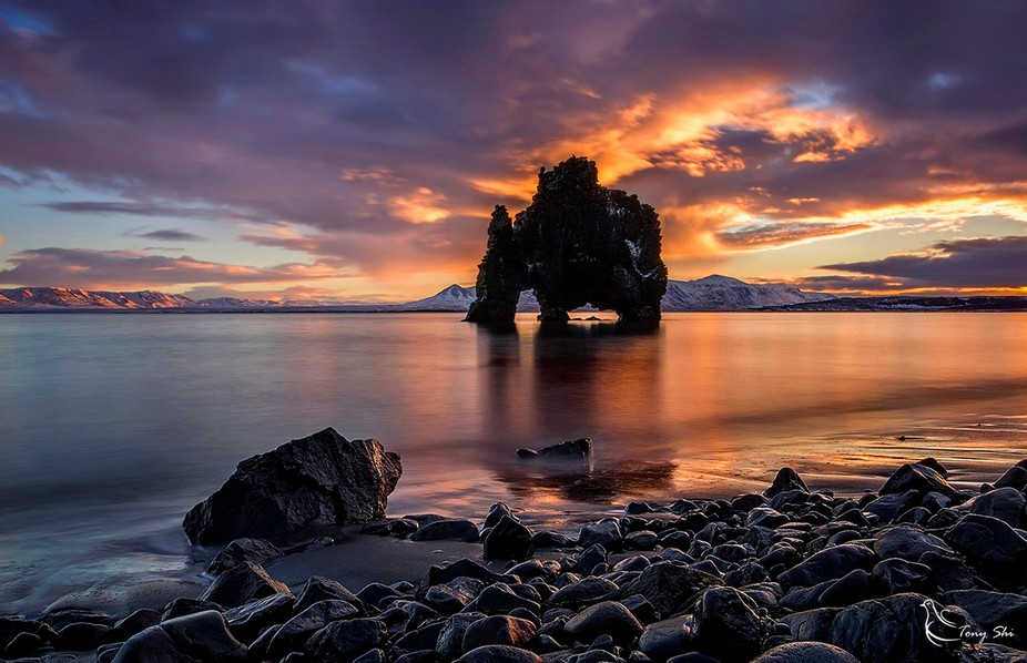 Hvitserkur. in the northwest of Iceland.