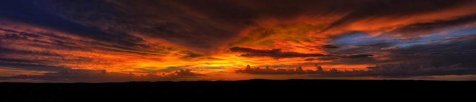 Sunset on Mina Clavero.  Pano made with 11 photos