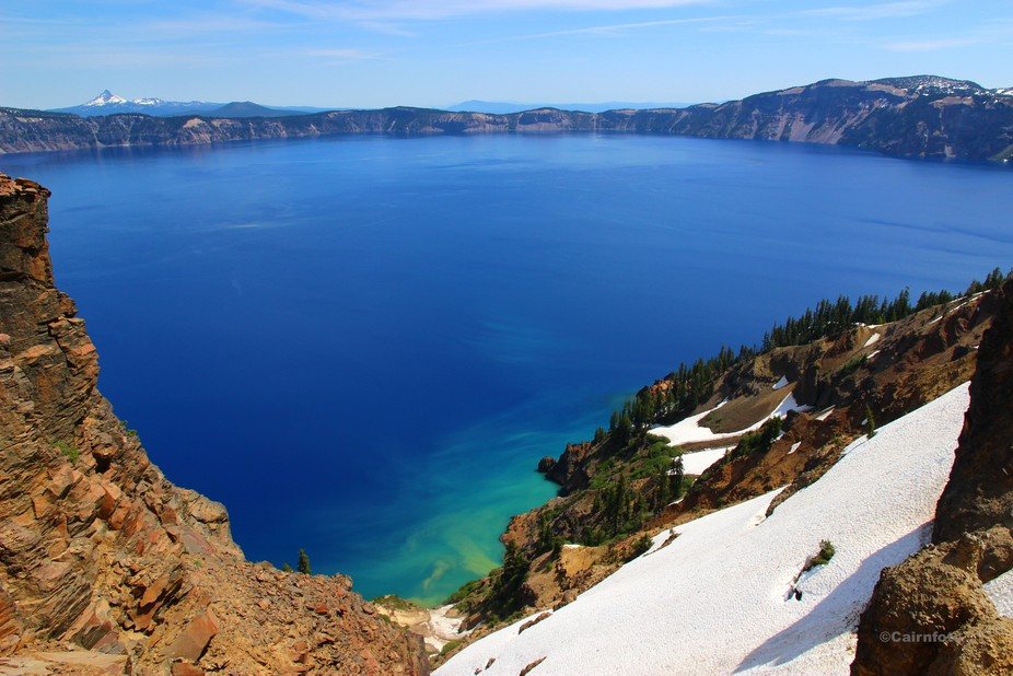 Fabulous natural colors of Crater Lake, Oregon, from the Garfield Peak Trail.