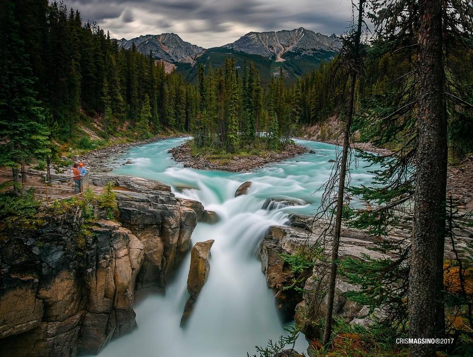 Majestic view at Sunwapta Falls in Alberta Canada
