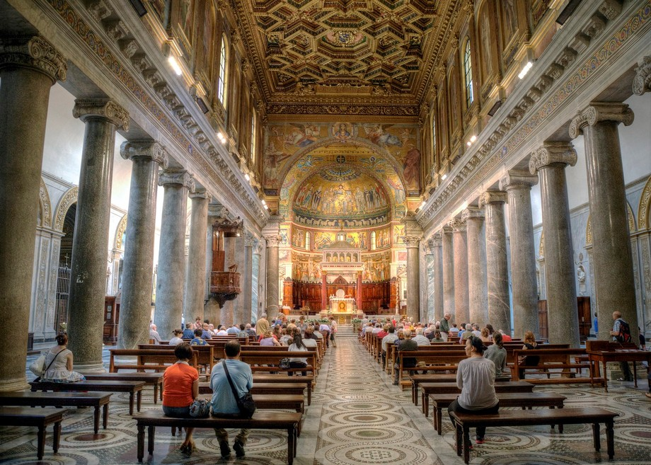 Beautiful Cathedral interior seen in Rome