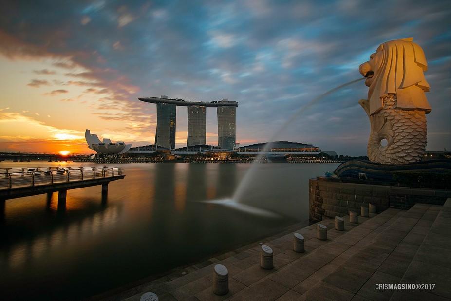 One fine morning along Marina Bay, Singapore.