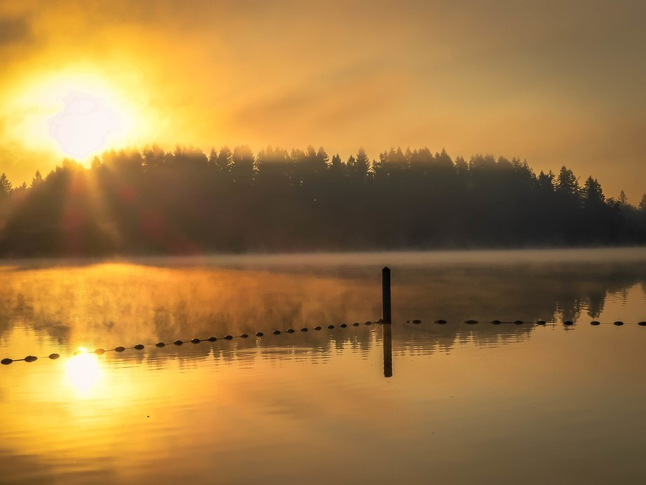 Sunrise at Long Lake reflection  in Lacey, Washington State