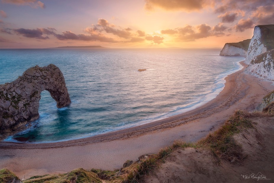 A lovely sunset down at the iconic Durdle Door, Dorset coastline.